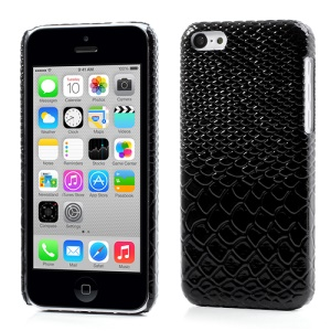 Snake Leather Skin Hard Back Cover for iPhone 5c - Black