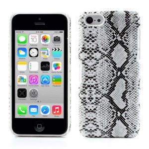 Snake Leather Coated PC Hard Case for iPhone 5c - White
