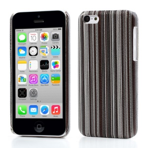 Grey Vertical Stripe Leather Coated Hard Case for iPhone 5c
