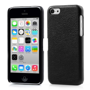 Black Lychee Leather Coated PC Hard Case for iPhone 5c