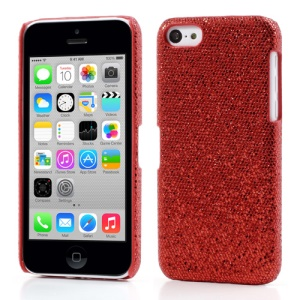Red Glittery Sequins Leather Coated Hard Cover for iPhone 5c