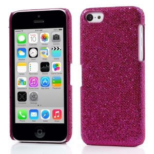 Rose Glittery Sequins Leather Coated Hard Case for iPhone 5c