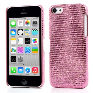 Pink Glittery Sequins Leather Coated Hard Case for iPhone 5c