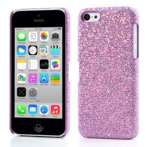 Light Purple Glittery Sequins Leather Coated Hard Case for iPhone 5c