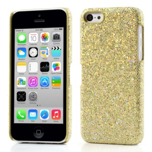 Golden Glittery Sequins Leather Coated Hard Shell for iPhone 5c