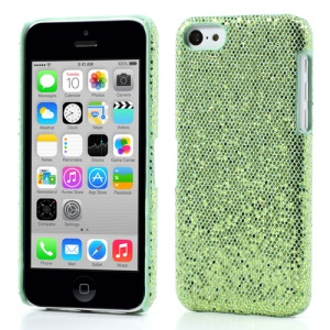 Green Glittery Sequins Leather Coated Hard Shell for iPhone 5c