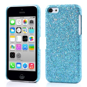 Baby Blue for iPhone 5c Glittery Sequins Leather Coated Hard Shell