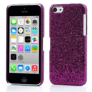Dark Purple for iPhone 5c Glittery Sequins Leather Coated Hard Shell