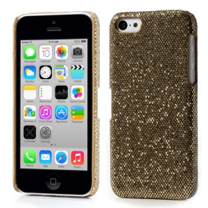 Brown for iPhone 5c Glittery Sequins Leather Coated Hard Shell