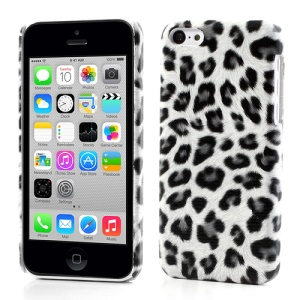 Grey Fashionable Leopard Leather Skin Hard Case for iPhone 5c