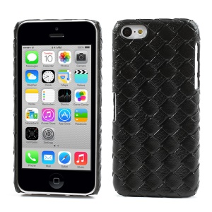Black for iPhone 5c Woven Pattern Leather Skin Anti-slip Hard Case