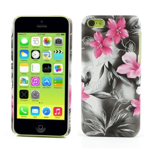 Grey Flowers Leather Coated Hard Plastic Case for iPhone 5c
