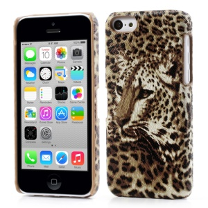 Leopard Design Leather Coated Plastic Hard Case for iPhone 5c