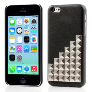 Black for iPhone 5c Silver Pyramid Studs Punk Rivet Matte Hard Case