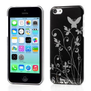 Glossy Butterfly Floral Plastic Case for iPhone 5c - Black