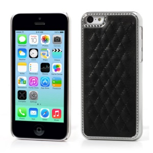 Electroplating Rhombus Leather Skin Plastic Case for iPhone 5c - Black