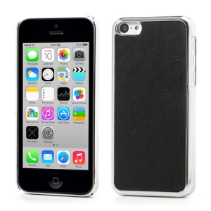 Plated Crazy Horse Leather Skin Plastic Case for iPhone 5c - Black