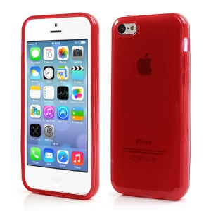 Red Glossy Outer Frosted Inner TPU Gel Cover Case for iPhone 5C