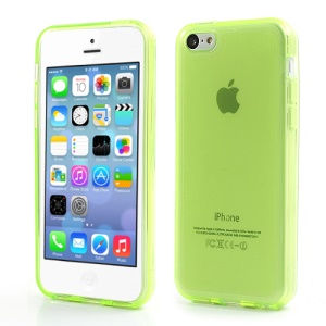 Green Glossy Outer Frosted Inner TPU Gel Cover Case for iPhone 5C