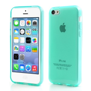 Cyan Glossy Outer Frosted Inner TPU Gel Cover Case for iPhone 5C