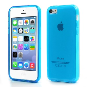 Blue Glossy Outer Frosted Inner TPU Gel Cover Case for iPhone 5C