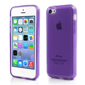 Purple Glossy Outer Frosted Inner TPU Gel Cover Case for iPhone 5C