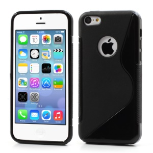 S Shape TPU Gel Cover Case Accessories for iPhone 5C - Black, with Round Cutout