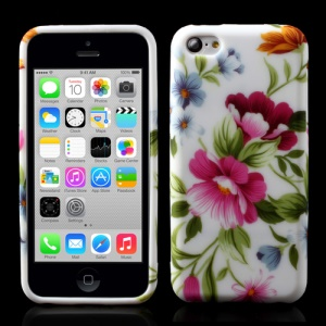 Beautiful Flowers Pattern TPU Gel Cover for iPhone 5c