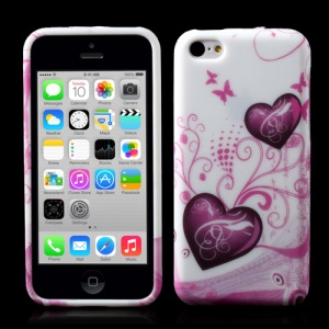 For iPhone 5c Two Hearts Butterflies Pattern TPU Case