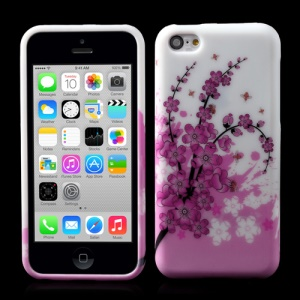 For iPhone 5c Pink Plum Flowers Matte TPU Gel Cover