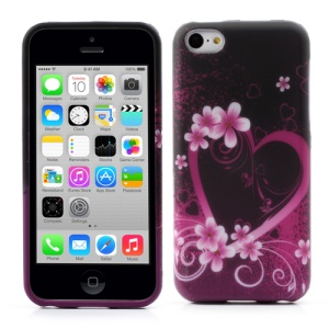 Heart and Flower Flexible TPU Gel Case for iPhone 5c