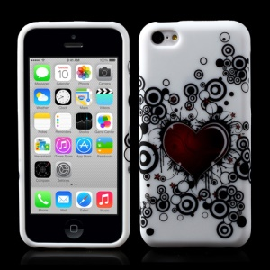 Circles Red Heart TPU Gel Covers for iPhone 5c