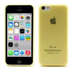 Ultra Thin Matte TPU Gel Cover for iPhone 5c with Anti-dust Plug - Translucent Yellow