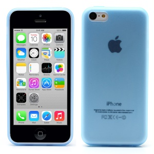 Ultra Thin Matte TPU Case for iPhone 5c with Anti-dust Plug - Translucent Blue