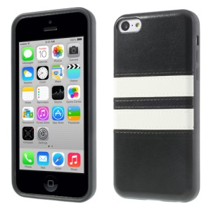Crazy Horse Leather Coated TPU Case for iPhone 5c - Black