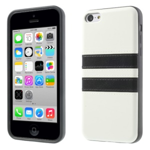 Crazy Horse Leather Coated TPU Gel Case for iPhone 5c - White