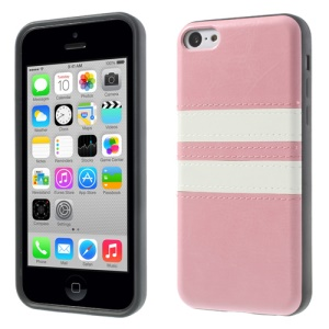 Crazy Horse Leather Coated TPU Cover for iPhone 5c - Pink
