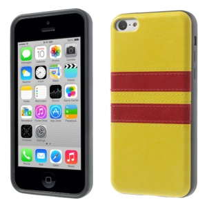 Crazy Horse Leather Coated TPU Gel Cover for iPhone 5c - Yellow