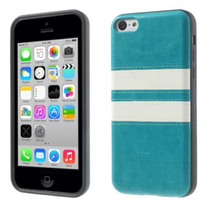 Crazy Horse Leather Coated TPU Shell Cover for iPhone 5c - Blue