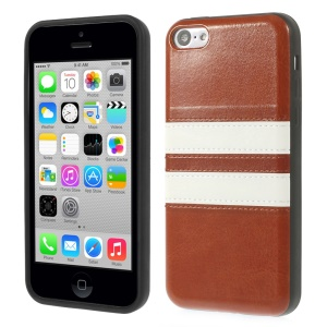 Crazy Horse Leather Coated TPU Shell Case for iPhone 5c - Brown