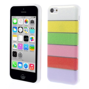 Colorful Rainbow Glittery Powder TPU Gel Cover for iPhone 5c - White