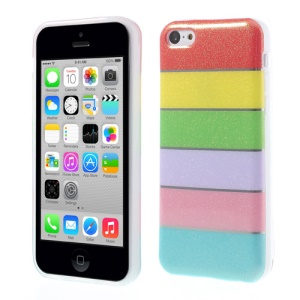 Colorful Rainbow Glittery Powder TPU Gel Cover for iPhone 5c - Red