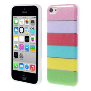 Colorful Rainbow Glittery Powder TPU Gel Cover for iPhone 5c - Pink