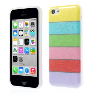 Colorful Rainbow Glittery Powder TPU Case for iPhone 5c - Yellow