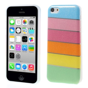For iPhone 5c Colorful Rainbow Glittery Powder TPU Case - Blue