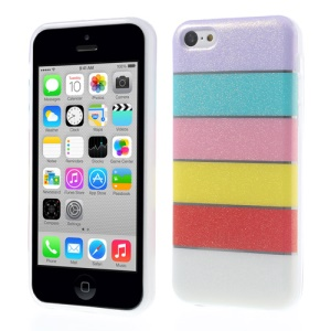 For iPhone 5c Colorful Rainbow Glittery Powder TPU Case - Purple
