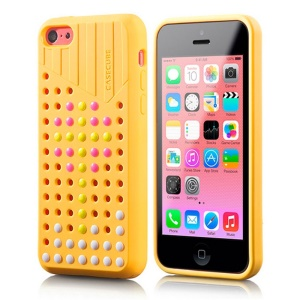 Yellow Casecube Hollow Dot DIY TPU Shell Case for iPhone 5c