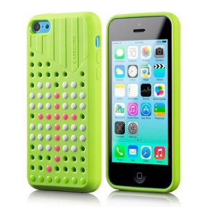 Green Casecube Hollow Dot DIY TPU Shell Cover for iPhone 5c