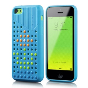 Blue Casecube Hollow Dot DIY TPU Shell for iPhone 5c