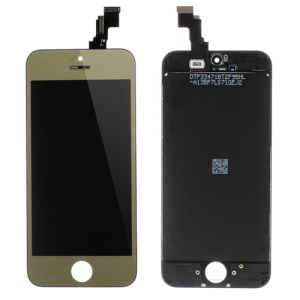 Gold for iPhone 5c Plated LCD Assembly ( OEM LCD Screen + Camera Holder + Sensor IC Holder + Earpiece Mesh) & (High quality Glass Lens + Digitizer Frame)